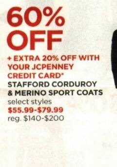 JCPenney Cyber Monday: Stafford Corduroy & Merino Sport Coats + Extra 20% off w/ JCP Card - 60% Off