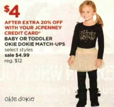 JCPenney Cyber Monday: Okie Dokie Baby or Toddler Match-Ups + Extra 20% off w/ JCP Card for $4.99