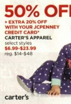 JCPenney Cyber Monday: Carter's Apparel + Extra 20% off w/ JCP Card - 50% Off