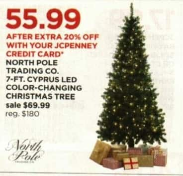 JCPenney Cyber Monday: North Pole Trading Co. 7' Cyprus LED Color Changing Christmas Tree + Extra 20% off w/ JCP Card for $69.99