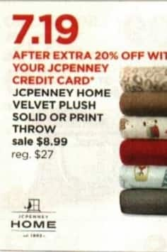 JCPenney Cyber Monday: JCPenney Home Velvet Plush Solid or Print Throw + Extra 20% off w/ JCP Card for $8.99