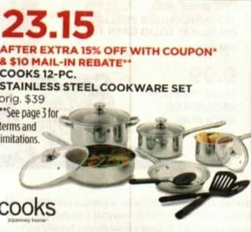 JCPenney Cyber Monday: Cook's 12-pc Stainless Steel Cookware Set for $23.15 after $10.00 rebate