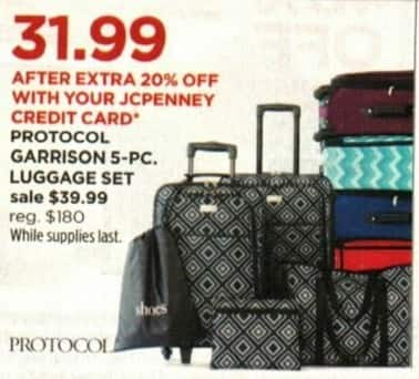 JCPenney Cyber Monday: Protocol Garrison 5-pc Luggage Set + Extra 20% off w/ JCP Card for $39.99