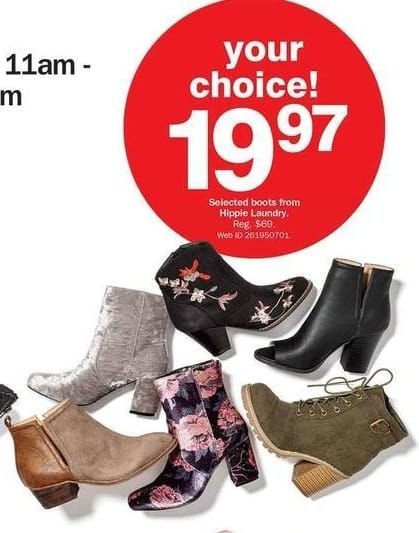 Bon-Ton Black Friday: Select Hippie Laundry Boots for $19.97