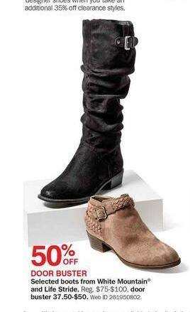 Bon-Ton Black Friday: Select Boots from White Mountain & Life Stride - 50% Off
