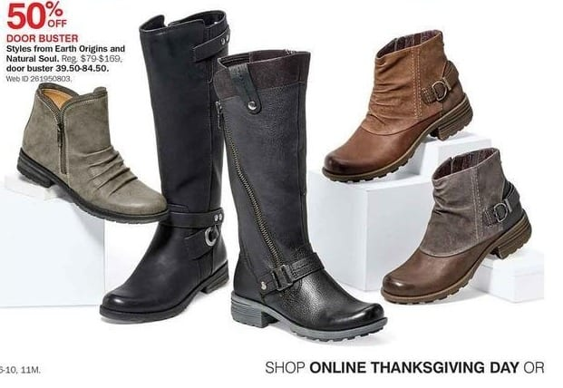 Bon-Ton Black Friday: Select Earth Origins & Natural Soul Boots - 50% Off
