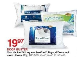 Bon-Ton Black Friday: Standard or Queen Size Iso-Cool, Beyond Down & Down Pillows for $19.97