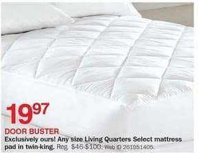 Bon-Ton Black Friday: Living Quarters Select Mattress Pad in Twin, Full, Queen or King for $19.97