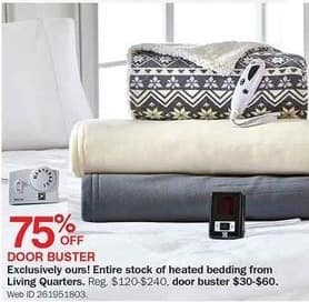 Bon-Ton Black Friday: Entire Stock of Living Quarters Heated Bedding - 75% Off