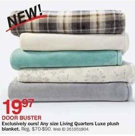 Bon-Ton Black Friday: Living Quarters Luxe Plush Blanket - Any Size for $19.97
