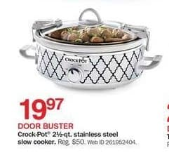 Bon-Ton Black Friday: Crock-Pot 2 1/2-qt Stainless Steel Slow Cooker for $19.97
