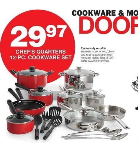 Bon-Ton Black Friday: Chef's Quarters 12-pc Stainless Steel Nonstick Cookware Set for $29.97