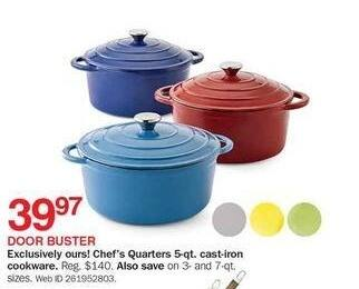 Bon-Ton Black Friday: Chef's Quarters 5-qt Cast-iron Cookware for $39.97