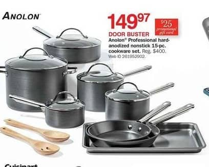 Bon-Ton Black Friday: Anolon Professional Hard-anodized Nonstick 15-pc Cookware Set + $25 Promo Gift Card for $149.97
