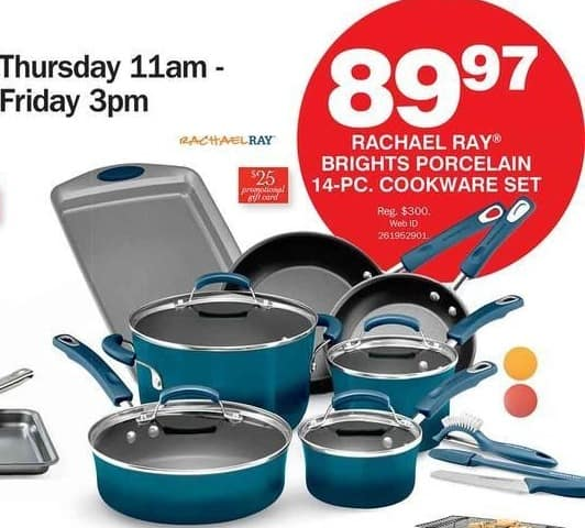 Bon-Ton Black Friday: Rachael Ray Brights Porcelain 14-pc Cookware Set + $25 Promo Gift Card for $89.97