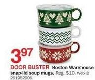 Bon-Ton Black Friday: Boston Warehouse Snap-lid Soup Mugs for $3.97