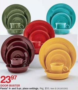 Bon-Ton Black Friday: Fiesta 4-pc & 5-pc Place Settings for $23.97