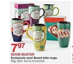 Bon-Ton Black Friday: Boxed Latte Mugs for $7.97