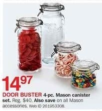 Bon-Ton Black Friday: 4-pc Mason Canister Set for $14.97