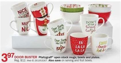Bon-Ton Black Friday: Pfaltzgraff Open Stock Mugs, Bowls & Plates for $3.97