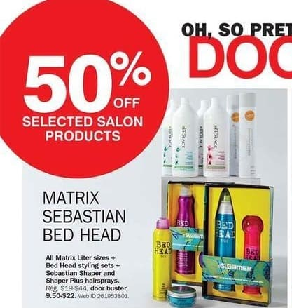 Bon-Ton Black Friday: Select Matrix, Sebastian & Bed Head Salon Products - 50% Off