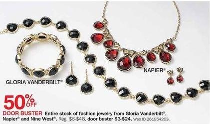 Bon-Ton Black Friday: Entire Stock of Gloria Vanderbuilt, Napier & Nine West Fashion Jewelry - 50% Off