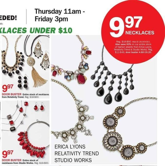 Bon-Ton Black Friday: Entire Stock of Fashion Jewelry from Erica Lyons, Relativity Trend & Studio Works - 60% Off