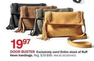 Bon-Ton Black Friday: Entire Stock of Ruff Hewn Handbags for $19.97