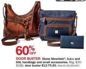 Bon-Ton Black Friday: Stone Mountain, B.O.C & GAL Handbags and Small Accessories - 60% Off