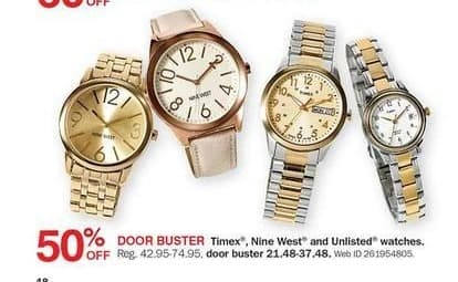 Bon-Ton Black Friday: Timex, Nine West & Unlisted Watches - 50% Off