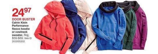 Bon-Ton Black Friday: Calvin Klein Performance Fleece Hoodie or Cowlneck Sweater for $24.97
