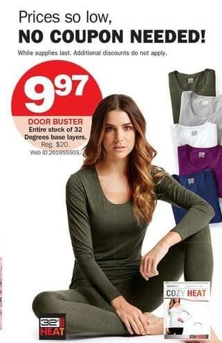 Bon-Ton Black Friday: Entire Stock of 32 Degrees Base Layers for $9.97