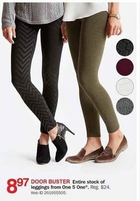 Bon-Ton Black Friday: Entire Stock of Leggings From One 5 One for $8.97