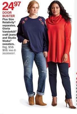 Bon-Ton Black Friday: Plus Size Relativity Separates, Gloria Vanderbuilt Jeans & Studio Works Sweaters for $24.97