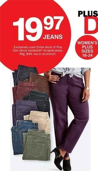 Bon-Ton Black Friday: Gloria Vanderbuilt & Amanda Plus Size Jeans for $19.97