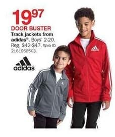 Bon-Ton Black Friday: Adidas Track Jackets for Boys for $19.97