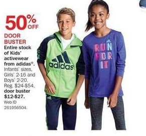 Bon-Ton Black Friday: Entire Stock of Kids' Activewear from Adidas - 50% Off