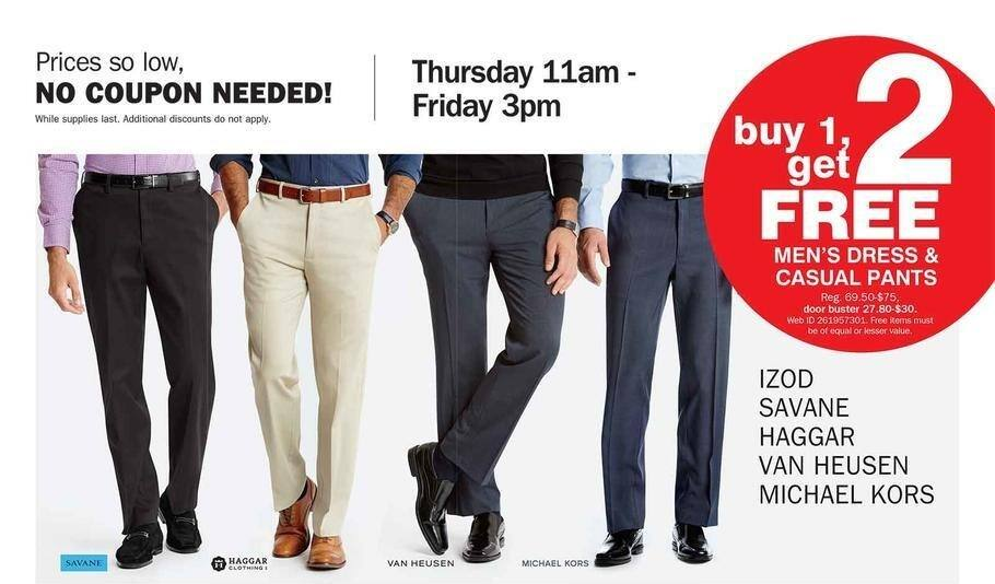 Bon-Ton Black Friday: Izod, Savane, Haggar, Van Heusen & Michael Kors Dress and Casual Pants - B1G2 Free