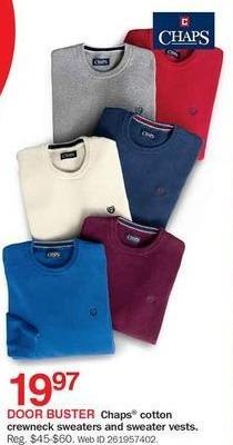 Bon-Ton Black Friday: Chaps Cotton Crewneck Sweaters & Sweater Vests for $19.97