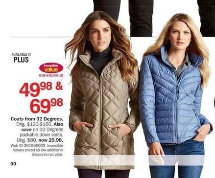 Bon-Ton Black Friday: 32 Degrees Packable Down Vests for Her for $29.98