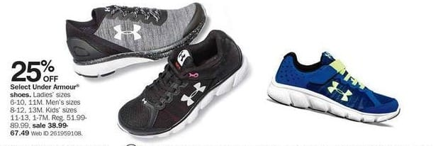 Bon-Ton Black Friday: Select Under Armour Shoes for the Family - 25% Off