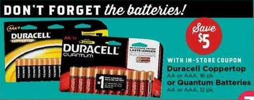 H-E-B Black Friday: Duracell Quantum 12-pk AA or AAA Batteries w/ In-Store Coupon - Save $5