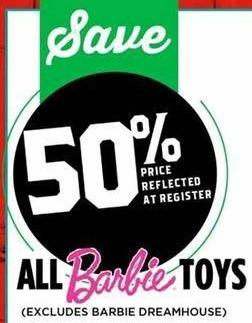 H-E-B Black Friday: All Barbie Toys - 50% Off