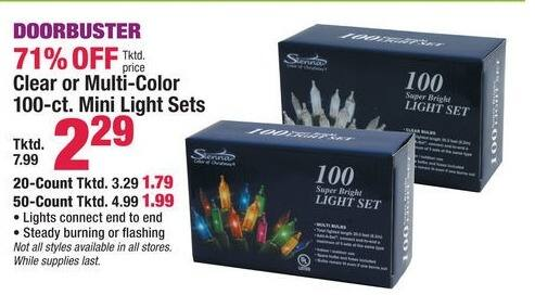 Boscov's Black Friday: Clear or Multi Color Mini Light Sets 20-ct, 50-ct or 100-ct for $1.79 - $2.29
