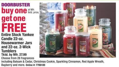 Boscov's Black Friday: Entire Stock of Yankee Candle 22-oz Jars or Tumblers - B1G1 Free