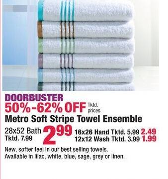 Boscov's Black Friday: Metro Soft Stripe Wash, Hand, or Bath Towel Ensemble for $1.99 - $2.99