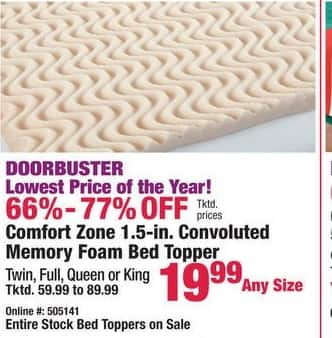 "Boscov's Black Friday: Comfort Zone 1.5"" Convoluted Memory Foam Bed Topper - Any Size for $19.99"