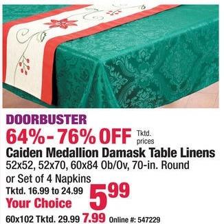 Boscov's Black Friday: Caiden Medallion Damask Table Linens for $5.99 - $7.99