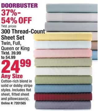 Boscov's Black Friday: 300 Thread-count Sheet Set - Any Size for $24.99