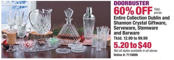 Boscov's Black Friday: Entire Collection Dublin and Shannon Crystal Giftware, Serveware, Stemware & Barware - 60% Off
